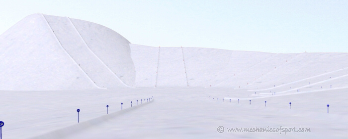 Looking down one of the blue pistes in the virtual ski area
